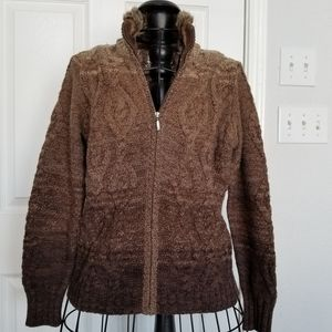 Eddie Bauer brown cable knit full zip sweater